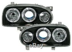 2 Headlight Angel Eyes Vw Volkswagen Golf 3 All Models Before Black Crystal Lights Led