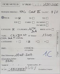 Cayd Volkswagen Golf Passat Touran 1.6tdi 102ch Type Cayd 98 211 Kms