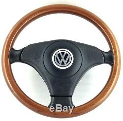 Nardi Volkswagen Genuine Leather And Wood Steering Wheel. Vw Polo Golf Etc. 2e