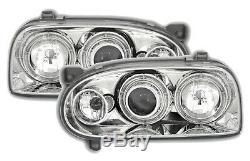 2 Phare Avant Angel Eyes Vw Volkswagen Golf 3 1991-1997 Chrome Cristal Led Feux