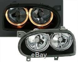 2 Phare Avant Angel Eyes Vw Volkswagen Golf 3 D Td Tdi Feux Noir Cristal Fk