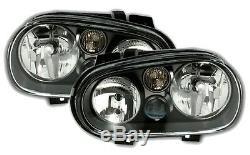 2 Phares Avant Vw Volkswagen Golf 4 Gti Sdi Tdi 90 1 Glace Lisse Noir Cristal