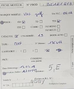 Moteur BXF Volkswagen Golf 5 V / Touran / Leon 1.9Tdi 90ch BXF 147 225 kms