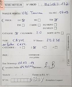 Moteur CAYK Volkswagen Golf Passat Touran 1.6Tdi 105ch type CAYK 65 995 kms