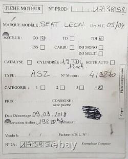 Moteur Volkswagen Golf IV 4 Audi A3 Ibiza 1.9Tdi 130cv type ASZ 192 137 kms