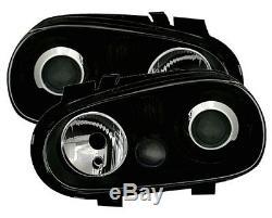 Phares Feux Avant Vw Volkswagen Golf 4 Gti Sdi Tdi 90 Glace Lisse Noir Look R32